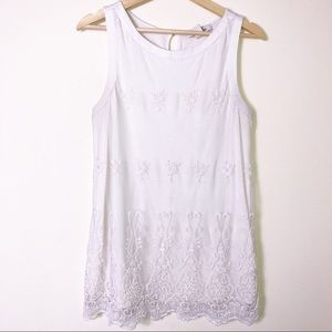 WHBM White  Sleeveless Mesh Embriodered Top M